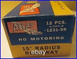 12 Atlas HO 15 Radius 1/8 Circle Roadway Slotcar Curve Tracks #1231 NMIB