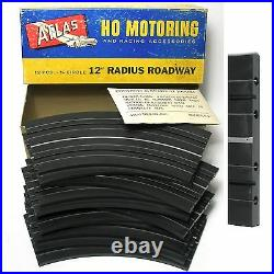 12pc 1963 Atlas HO Slot Car Race Track 1/8 Radius 12 Curves MIB +48 Joiners USA