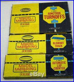 15pc Vintage 1960s Aurora Model Motoring HO Lot Track+Accessories Made In USA