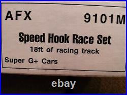9101m Afx Super G- Plus Speed Hook Slot Car Race Set Nisb Htf 18ft Of Track