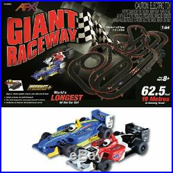 AFX Giant Raceway 62.5' HO Slot Car Track Set withTri-Power Pack 22020