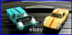 AURORA MODEL MOTORING #1307 T-JET 2 LANE HO Slot Car Race Track Set 2 Cars TYCO