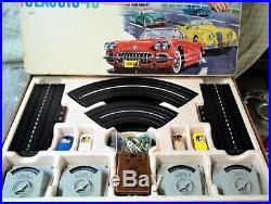 AURORA MODEL MOTORING VIBRATOR #1505 COMPLETE HO SLOT TRACK RACE SET 4 Cars TJET