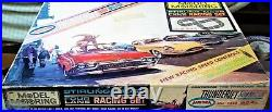 Aurora Model Motoring Good Ho #1308 Tjet 4 Lane Slot Car Race Track Set 4 Cars