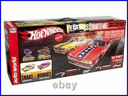 Auto World Hot Wheels Slot Car Racing Set Snake vs Mongoose 13ft Race Track