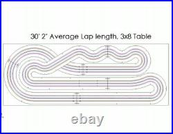 Custom HO Routed Slot Car Track KIT 3 Lane 3x8 Viper V1 AFX Tyco BSRT Wizzard