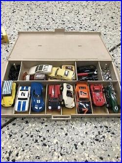 HUGE Lot Of Vintage Aurora Model Motoring Slot Car Track Set! 17+Cars Free Ship