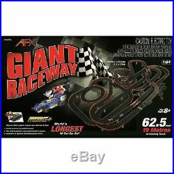 NEW AFX Giant Raceway 62.5' HO Slot Car Track Set withTri-Power Pack
