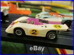 NMINT Lighted AURORA AFX (4) Porsche & Ferrari T Jet Race Track Set Slot Cars