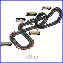 Racing Car Track Set 2 Cars Controllers Loops Turns Kids Play Fast Toy Game New