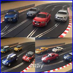 Scalextric Digital 4 Lane Layout with 3 Lane Changers / Lap Counter & 4 Cars