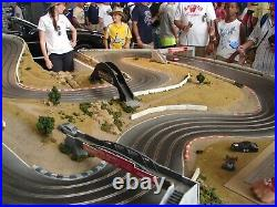 Slot Mods 1/32 132 slot car track withcontrollers, extras rare 4-lane