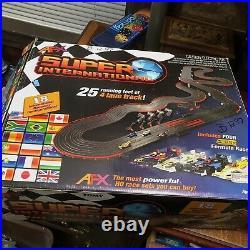 Tomy AFX Super International 4-Lane Mega G HO Slot Car Track Set withTri-Power
