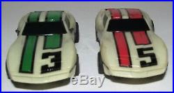 Tyco 15 Track Pieces Cliff Hanger Nite Glow 1984 Set #6220 with Corvette Slot Cars