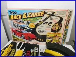 Tyco Race and Chase with u-turn cars and double cross jump