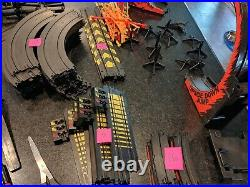 Tyco Slot car track LARGE Lot 100++ track pieces, 4 power packs, 10 controllers