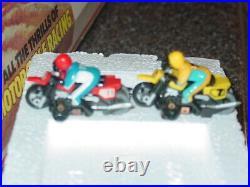 Vintage TYCO Dirt Bike Racing Track Slot Race Set Original Box 2 bikes